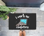 Funny Cats and Computers Halloween Kitty for Pet Lovers Doorrmat