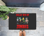Funny Chillin With My Zombies Halloween Gift for Boys Doorrmat