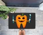 Funny Dental Halloween Tooth Pumpkin Dentist Halloween Gift Doorrmat