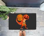Funny Halloween Dinosaur Pumpkin Head Costume Gift For Boys Doorrmat
