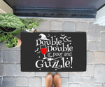 Funny Halloween Party Witch Wine Drinking Double And Guzzle Doorrmat