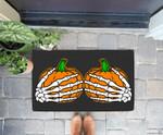 Funny Halloween Skeleton Hands On Chest Pumpkin Boobs Doorrmat