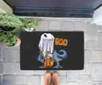 Ghost Dinosaur T rex Funny Boo Halloween Gifts Men Pumpkin Doorrmat
