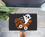 Ghost rider truck Monster Halloween pumpkin Doorrmat