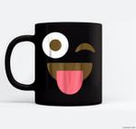 Giant Emoji Face - Funny Emoji Halloween Costume Ceramic Coffee Black Mugs