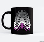 Funny Halloween Skeleton - Asexual Pride Graphic Ceramic Coffee Black Mugs