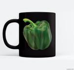 Green Bell Pepper Halloween Costume Veggie Salad Ceramic Coffee Black Mugs