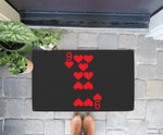 9 of Hearts - Playing Card Halloween Costume Doorrmat
