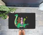 Alien Bigfoot & Unicorn Riding Loch Ness Monster Halloween Doorrmat