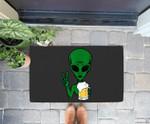 Area-51 Alien Beer Peace Sign Lazy Drinking Halloween Gift Doorrmat