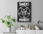 Sinners are Winners Pentagram Black Metal Fans, Halloween Premium Wall Art Canvas Decor