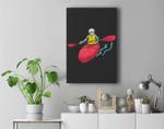 Skeleton Canoeing Halloween Kayaking Boating Premium Wall Art Canvas Decor