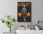 Skeleton Deadlift Workout - Funny Halloween Weight Lifting Premium Wall Art Canvas Decor