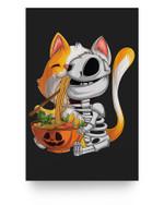 kawaii japanese anime cat Skeleton ramen Halloween Lovers Matter Poster