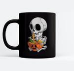 Kawaii Japanese Anime Skeleton Halloween Ramen Food Lovers Ceramic Coffee Black Mugs