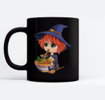kawaii japanese anime Witch Halloween ramen Food Lovers Ceramic Coffee Black Mugs