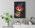 kawaii japanese anime Witch Halloween ramen Food Lovers Premium Wall Art Canvas Decor
