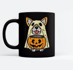 Welsh Corgi Ghost Funny Halloween Costume Dog Owner Lover Ceramic Coffee Black Mugs