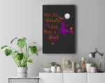 Why Yes Actually I Can Drive A Stick Witch Wine Halloween Premium Wall Art Canvas Decor
