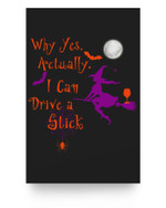 Why Yes Actually I Can Drive A Stick Witch Wine Halloween Matter Poster