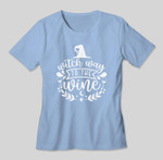 Funny Witch Wine Drinking Halloween - Witch Way To The Wine T-shirt