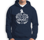 Funny Witch Wine Drinking Halloween - Witch Way To The Wine Sweatshirt & Hoodie