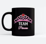 Gender Reveal  Team Princess, Girl, Pink For Family Ceramic Coffee Black Mugs