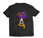 German shorthaired Pointer Witch Hat Flying Halloween T-shirt