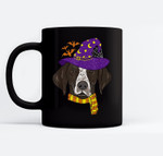 German shorthaired Pointer Witch Hat Flying Halloween Ceramic Coffee Black Mugs
