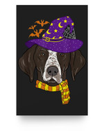 German shorthaired Pointer Witch Hat Flying Halloween Matter Poster