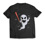 Ghost Baseball Player Halloween Themed Costume T-shirt