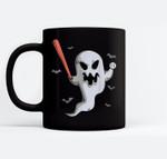 Ghost Baseball Player Halloween Themed Costume Ceramic Coffee Black Mugs