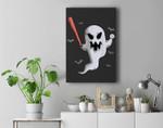 Ghost Baseball Player Halloween Themed Costume Premium Wall Art Canvas Decor