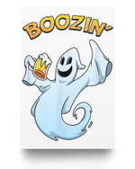 Ghost Beer Costume Boozin Party Funny Halloween Drinking Matter Poster