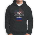American Raised with Russian Roots Russia USA Flag Sweatshirt & Hoodie