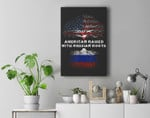 American Raised with Russian Roots Russia USA Flag Premium Wall Art Canvas Decor