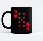 Nine of Hearts poker playing card Halloween costume Ceramic Coffee Black Mugs