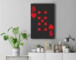 Nine of Hearts poker playing card Halloween costume Premium Wall Art Canvas Decor