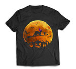 Ferret Costume Witch Riding Broom Moon Halloween T-shirt
