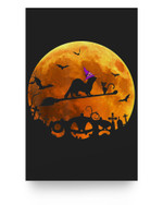 Ferret Costume Witch Riding Broom Moon Halloween Matter Poster