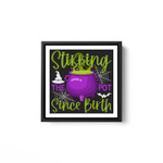 Stirring The Pot Since Birth Spooky Witch Halloween Costume White Framed Square Wall Art