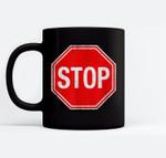 Stop Sign Ceramic Coffee Black Mugs