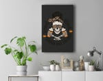 Stressed Blessed Pumpkin Spice Obsessed Halloween Skeleton Premium Wall Art Canvas Decor