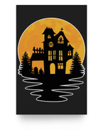 Creepy Vintage Spooky Haunted House Castle Halloween Costume Matter Poster