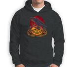 Crow on Scary Pumpkin Funny Halloween Moon Graphic Sweatshirt & Hoodie