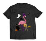 Cute and Fun Halloween Trick or Treat Witch Flamingo T-shirt