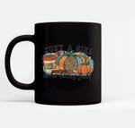 Just A Girl Who Loves Fall, Pumpkin Coffee Halloween Ceramic Coffee Black Mugs