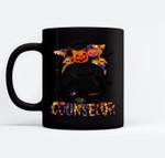 Halloween Pumpkins Counselor Messy Bun Funny Halloween Ceramic Coffee Black Mugs