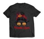 Pumpkin Queen Messy Bun Witch Halloween Pumpkin Sunglasses T-shirt