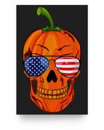 Pumpkin Skull American Flag Sunglasses, Skeleton Halloween Matter Poster